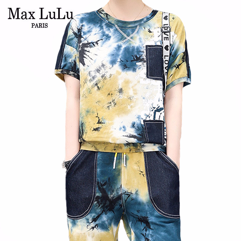 Max LuLu 2020 European Fashion Style Summer Ladies Loose Two Pieces Sets Women Casual Printed Suit Cotton Vintage Tops And Pants