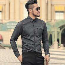 גברים של סתיו והחורף חדש אוקספורד טהור כותנה לבן Slim Fit מותג חולצה גברים של סגנון בריטי עסקי ארוך שרוול חולצה S892
