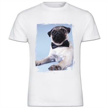 Pug Dog Sitting With Bow Tie On Kids Boy Girl T-Shirt Confortable Tee Shirt