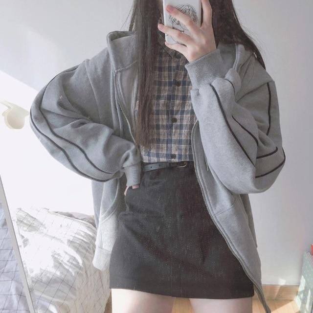 streetwear Harajuku Oversized sweatshirt women print Letter zip up Hoodies Student Plus Size Outwear Female Loose tops 6