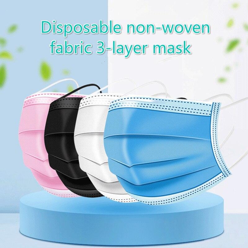 Máscara protetora não tecida do laço da orelha elástica das máscaras de pano de meltblown 10/50/100 dos pces descartáveis da anti-poeira das máscaras da boca 3-camada 2