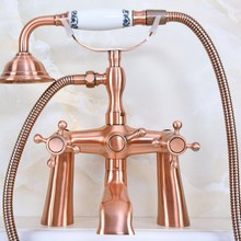 Cubierta de cobre rojo antiguo montado en la bañera de baño grifo doble cruz maneja teléfono estilo ducha de mano garra de relleno de la bañera aa161