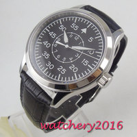 42mm corgeut mostrador preto vidro de safira luminoso mecânico automático relógio masculino Relógios mecânicos     -