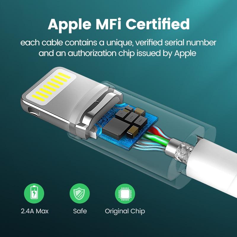 Καλώδιο USB Uv Green MFi για iPhone 11 X Xs Max 2.4A - Ανταλλακτικά και αξεσουάρ κινητών τηλεφώνων - Φωτογραφία 3