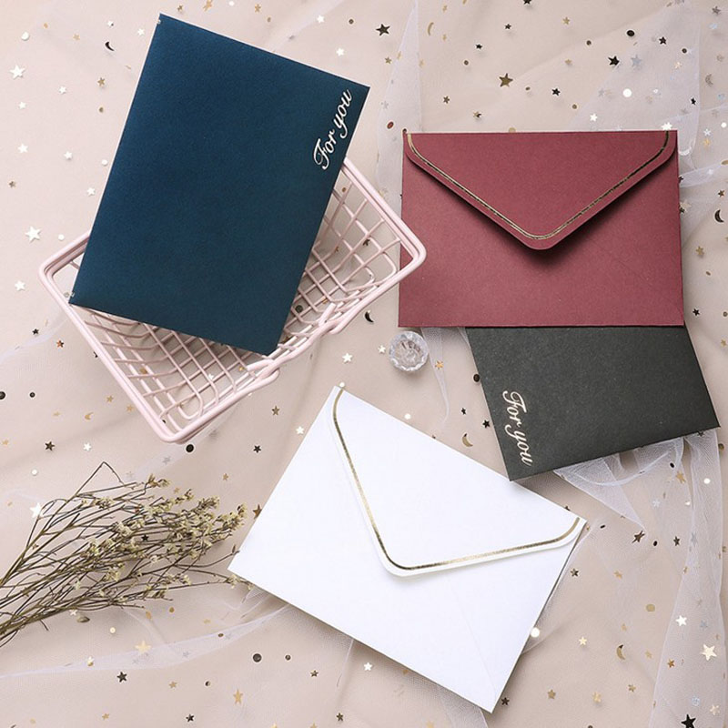10 Pcs Kawaii Retro Creative Color Gold Blessings Envelope Postcard Envelope Message Card Stationery