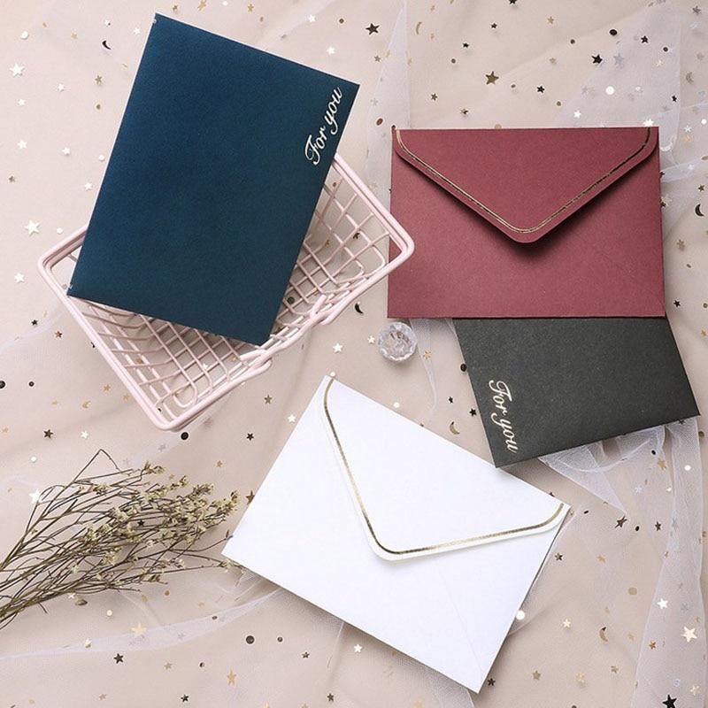 10 Pcs Kawaii Retro Creative Color Gold Blessings Envelope Postcard Envelope Message Card Stationery