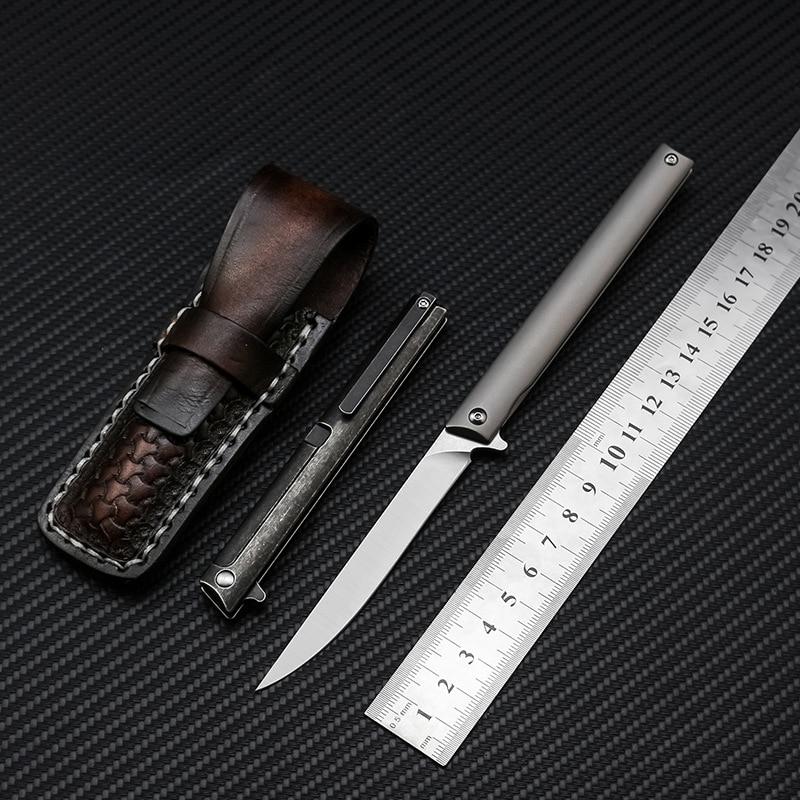 Swayboo stylo couteau pliant alliage de titane 60HRC dureté M390 acier D2 acier extérieur Portable EDC coupe-fruits étui en cuir