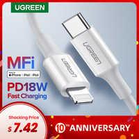 Ugreen MFi USB Typ C zu Blitz Kabel für iPhone 11 Pro X XS 8 XR PD18W Schnelle USB C lade Daten Kabel für Macbook PD Kabel