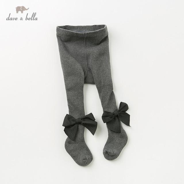 DB12032 דייב bella סתיו תינוק בנות סרוג קשת חותלות מכנסיים ילדי מלא אורך ילדים מוצק מכנסיים