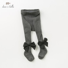 DB12032 dave bella autumn baby girls knitted bow leggings pants children full length kids solid pants