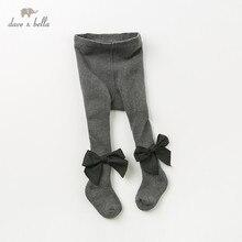 DB12032 dave bella herfst baby meisjes gebreide boog leggings broek kinderen volledige lengte kids effen broek