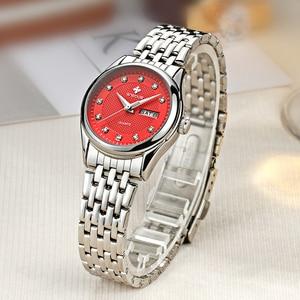 Image 2 - WWOOR reloj rojo de marca de moda para mujer, reloj de pulsera informal para mujer, reloj de acero inoxidable con fecha de cuarzo, reloj para mujer