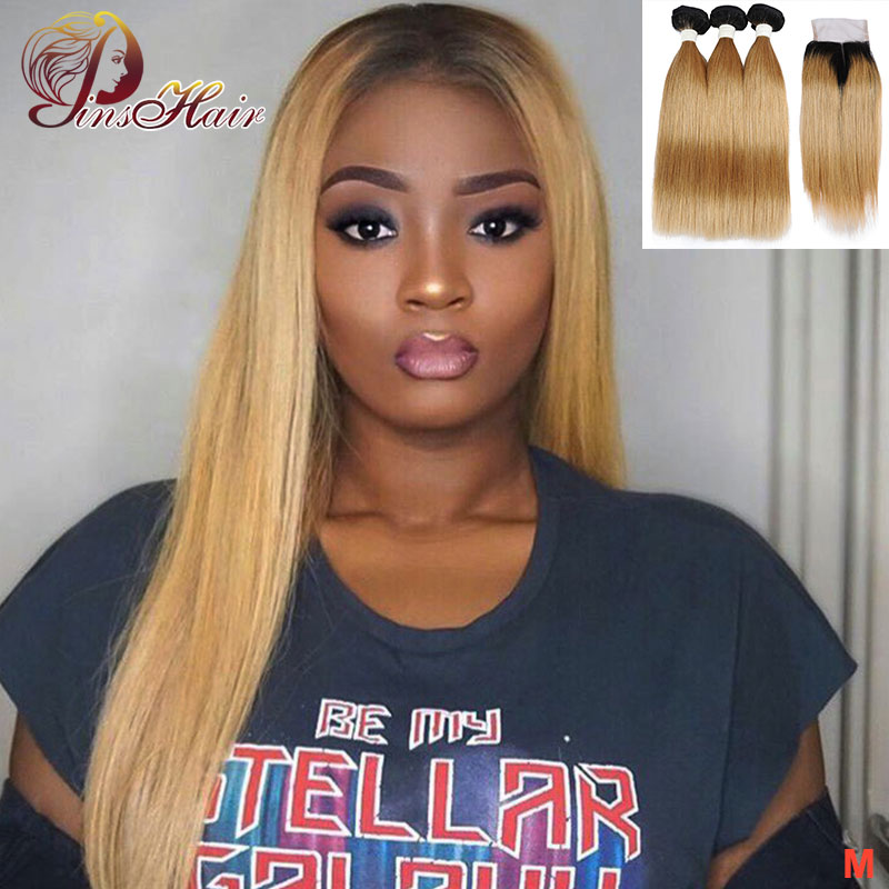 T1B/27 Blonde Ombre Bundles With 4*4 Closure Peruvian Straight Human Hair Bundles With Closure 10