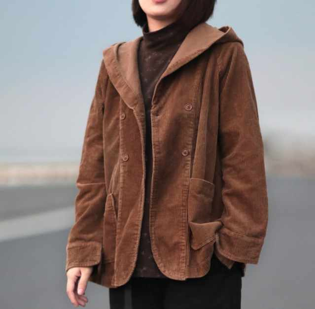 2020 Spring Autumn Womens Loose Hooded Jacket Women Corduroy Jackets Short Coats Female Vintage Outerwear Women Cropped Jacket
