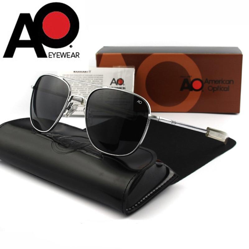 Óculos de sol piloto homem lente de vidro temperado qualidade superior marca designer ao óculos de sol masculino exército americano militar óptico