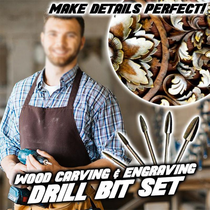 Wood Carving And Engraving Drill Bit Set Electric Grinding White Steel Pointed Knife Wood Carving Milling Cutter