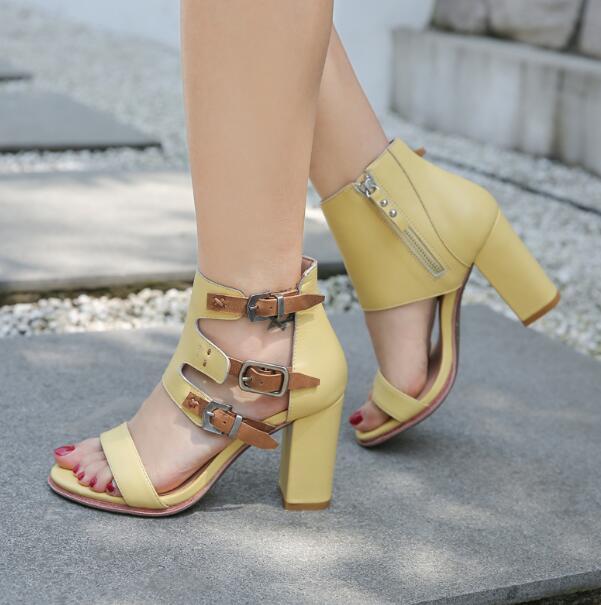 Bleu jaune 100% véritable cuir fermeture à glissière boucles été 80 mm talons rugueux une ligne sandales à talons hauts bout ouvert chaussures en cuir de vache