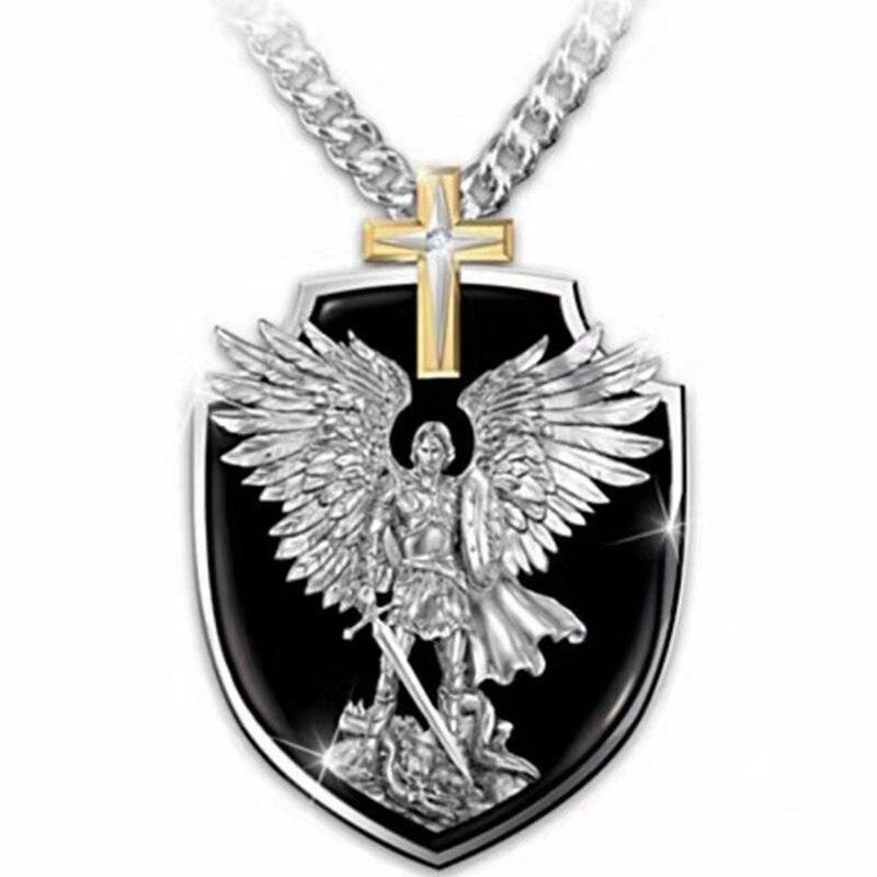 Новинка 2020, мужское ожерелье в стиле викингов, s Archangel St.Michael Saint Shield, защитное ожерелье, крылья ангела, верный крест, кулон