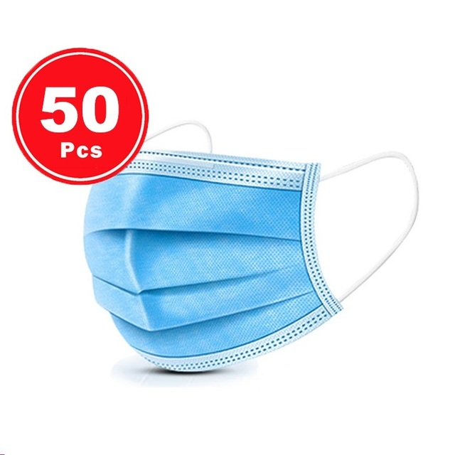 High Quality Dropping 50pcs 100PCS  Non Woven Disposable Face Mask 3 Layers  Face Masks Ear loop Mouth Mask 3