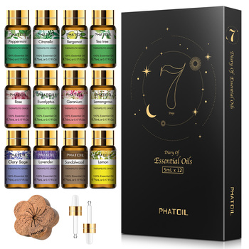 PHATOIL 12pcs Gift Box Pure Natural Essential Oils Set for humidifier Lavender Mint Lemon Bergamot Tea Tree Purify Air Aroma Oil 1
