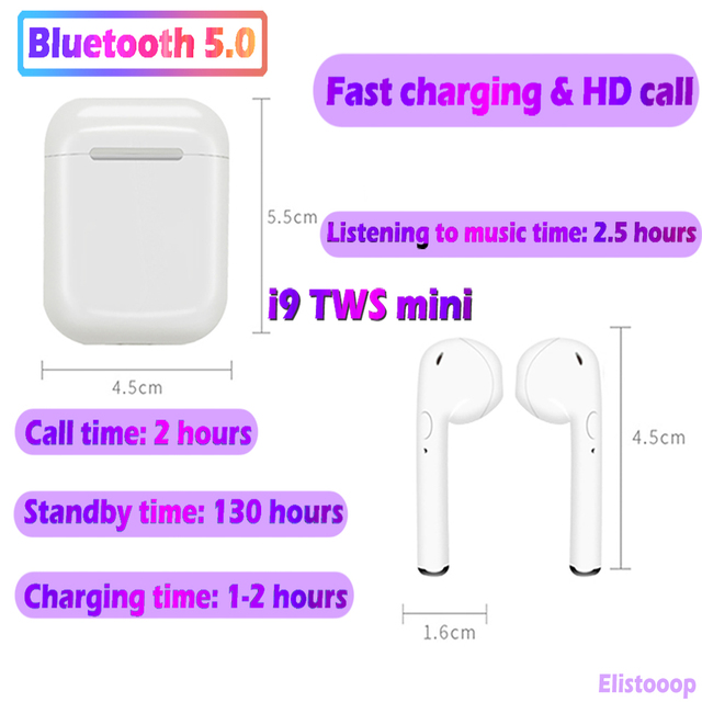 I9S Tws Mini Draadloze Koptelefoon Bluetooth Headset Bass Hoofdtelefoon Bluetooth 5.0 Stereo Sport Oordopjes Met Microfoon Voor Smart Phone