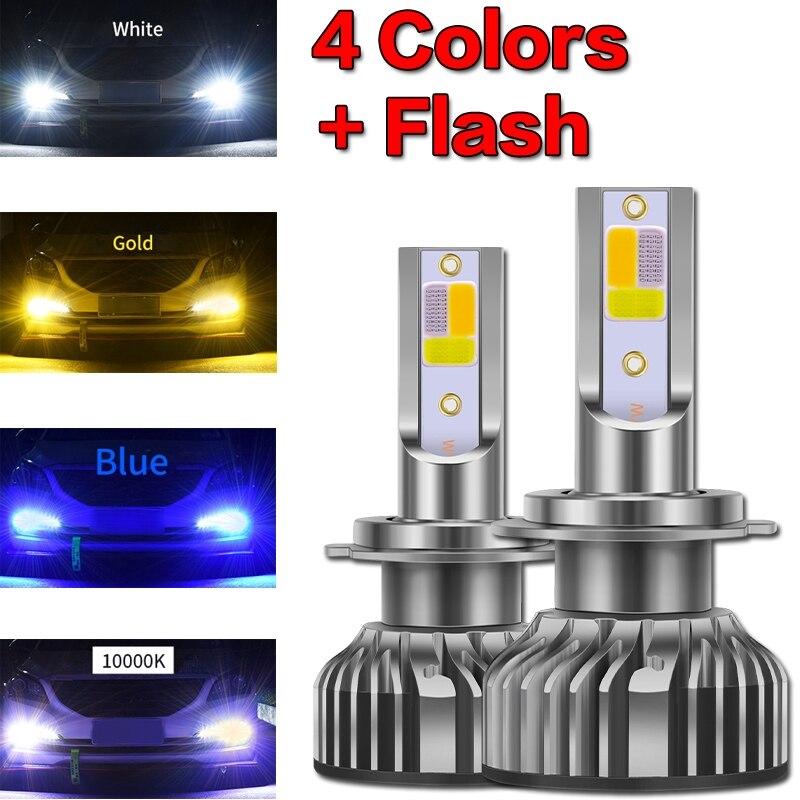 1 пара Четыре цвета + вспышка светодиодный фар автомобиля 10000LM авто светодиодный H4 H1 H7 H8 H9 H11 H16 9005 HB3 9006 HB4 3000K 6000K 10000K