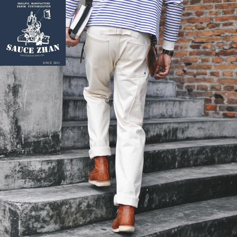 SauceZhan Sz6601-w White Denim Jeans Men's Jeans Selvedge Jeans Jeans Raw Denim Jeans Men Mens Jeans Brand White Jeans