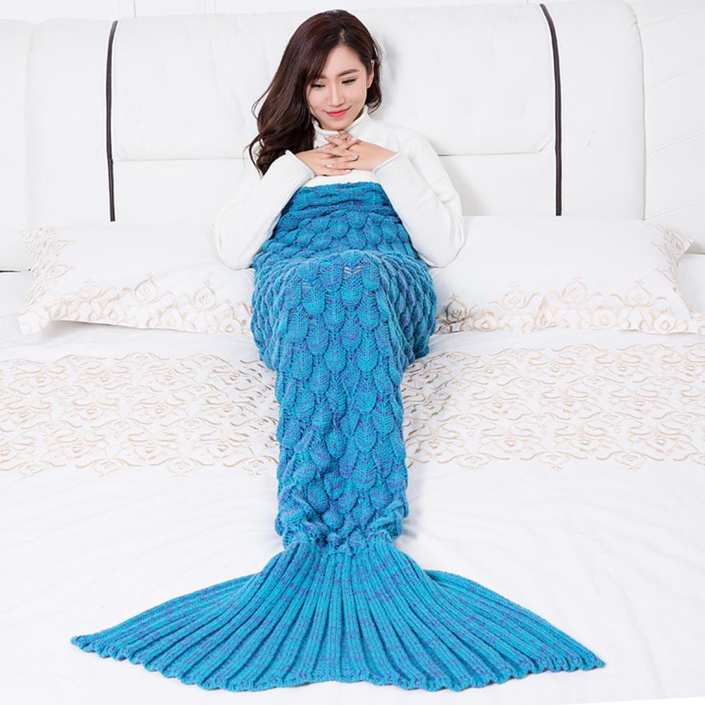 Colorful Mermaid Blanket Warm Mermaid Tail Cover For Sofa Bedroom Adult Children Relax Sleeping Nap Crochet Blankets
