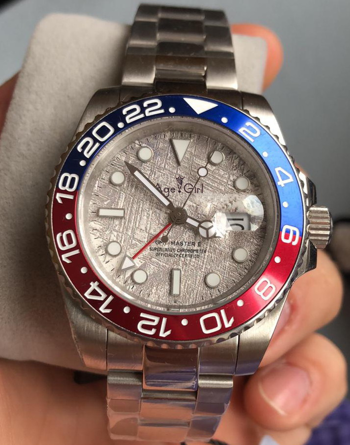 Luxury Brand New Men Automatic Mechanical Watch Red Black Blue Ceramic Meteorite Duale GMT II Stainless Steel Sapphire Luminous