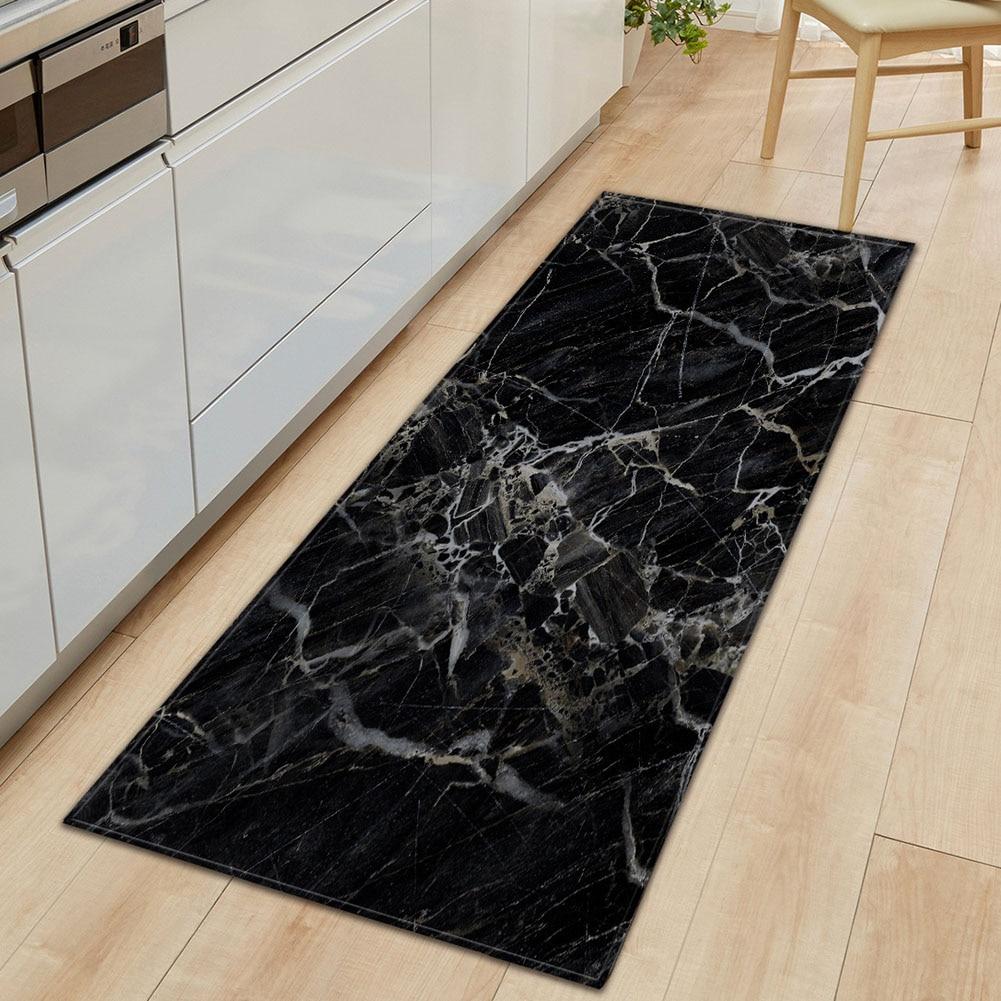 Marbling Home Non Slip Kitchen Wear Resistant Washable Floor Mat Carpet Living Room Entrance Rug Practical Decorative Rectangle