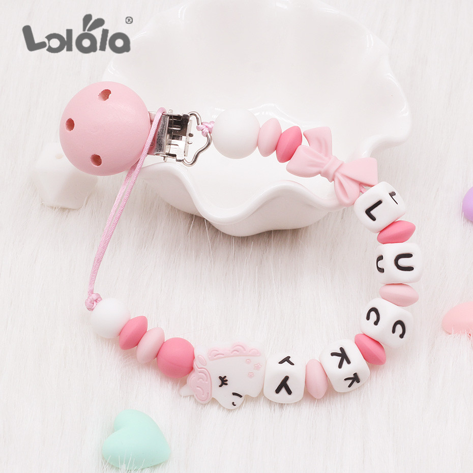 NEW DIY Silicone Baby Pacifier Clip Personalised Name Bow Pacifier Chain Baby Teething Soother Chew Toy Dummy Clips Shower Gift