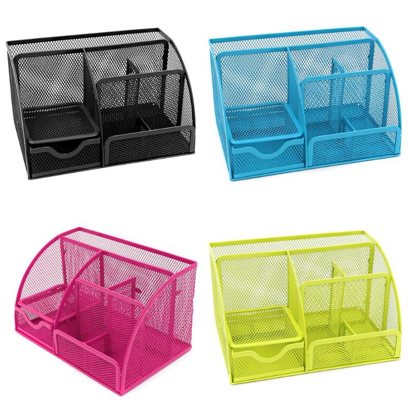 9 Grids Multi-function Desk Organizer Metal Fuselage More Durable With Green Paint Mesh School Offices Stationery Storage Box