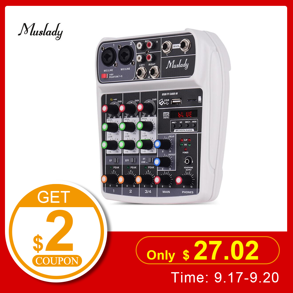 Muslady AI-4 Compact Sound Card Mixing Console Digital Audio Mixer BT MP3 USB Input +48V Phantom Power For Music Recording