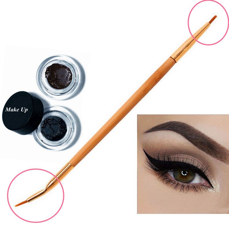 1PC Sottile Eye Liner Brush Bellezza Naturale di Bambù Maniglia Piegato Doppio Fine Eyeliner Brush + Spazzola del Labbro di Trucco Strumenti dropshipping