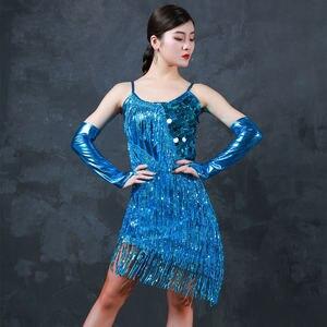 Image 4 - 라틴 댄스 드레스 의상 라틴 댄스 shinning 여성 라틴 댄스 여자 세트 경쟁 라틴계 드레스 프린지 스팽글