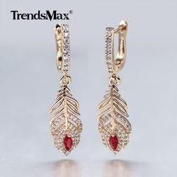 585 Rose Gold Long Dangle Earrings Women Elegant Feather Flower Red Stone Cubic Zircon Drop Earrings Wedding Party Jewelry GE297