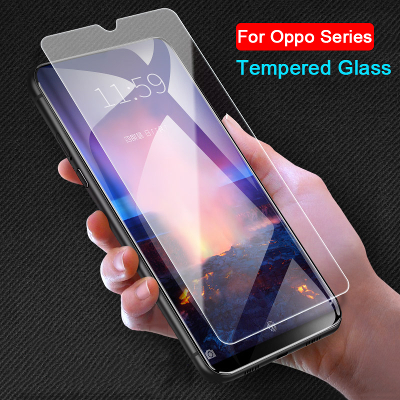 9H Protective Tempered Glass On For Oppo A3s A5 A5s A7 A9 A59 F1s F5 F7 F9 F11 Pro Realme 2 C1 X Screen Protector Safety HD Film
