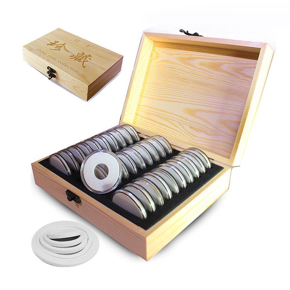 Caja para monedas de madera de 51mm con caja redonda de 30 unidades, caja para guardar monedas, caja organizadora para expositores de cápsulas, regalos de colección Carpeta de archivo A4 con expansor de 13/24/37/48 bolsillos, organizador portátil de archivos de negocios, suministros de oficina, soporte para documentos, Archivador