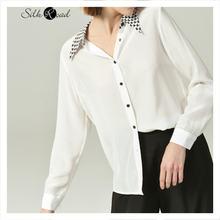 Шелковая белая рубашка silviye с отложным воротником женский