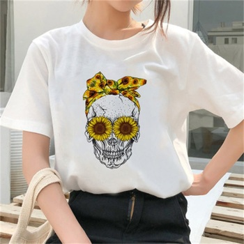 ¡Novedad de 2020! Camiseta Punk de calavera con margaritas para Mujer, camisetas informales de manga corta con girasoles y letras Chemise