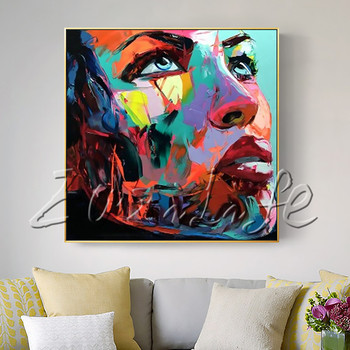 Portrait Young Woman Face Palette knife Oil painting christmas figure canva Hand painted Francoise Nielly wall Art picture