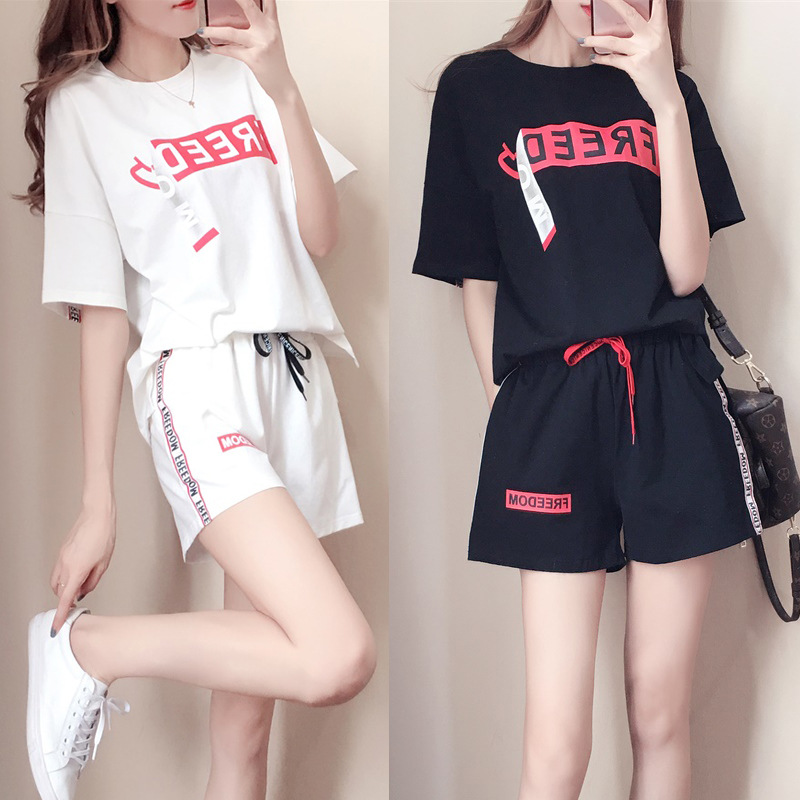 [Foreign Trade] 2019 Summer Korean-style WOMEN'S Short-sleeved T-shirt Blouse + Shorts Casual Sports Two-Piece Set