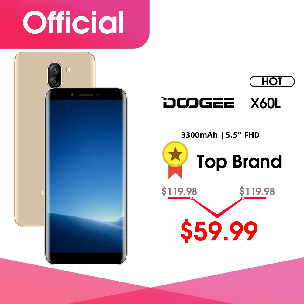 DOOGEE X60L 5.5'' 4G Network MTK6737 Quad Core 2GB RAM 16GB ROM 4G Dual Camera 13.0MP Android 7.0 3300mAh Fingerprint Smartphone