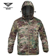 Tactical Hooded Camouflage Skin Clothing Men's Outdoor Spring Summer Hunting Hiking Sun Protective Anti-UV Windbreaker Jacket
