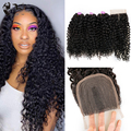 Mongolian Afro Kinky Curly Water Wave 3 Bundles with Closure Human Blend Hair Brazilian Weave Bundle for Black Women Party