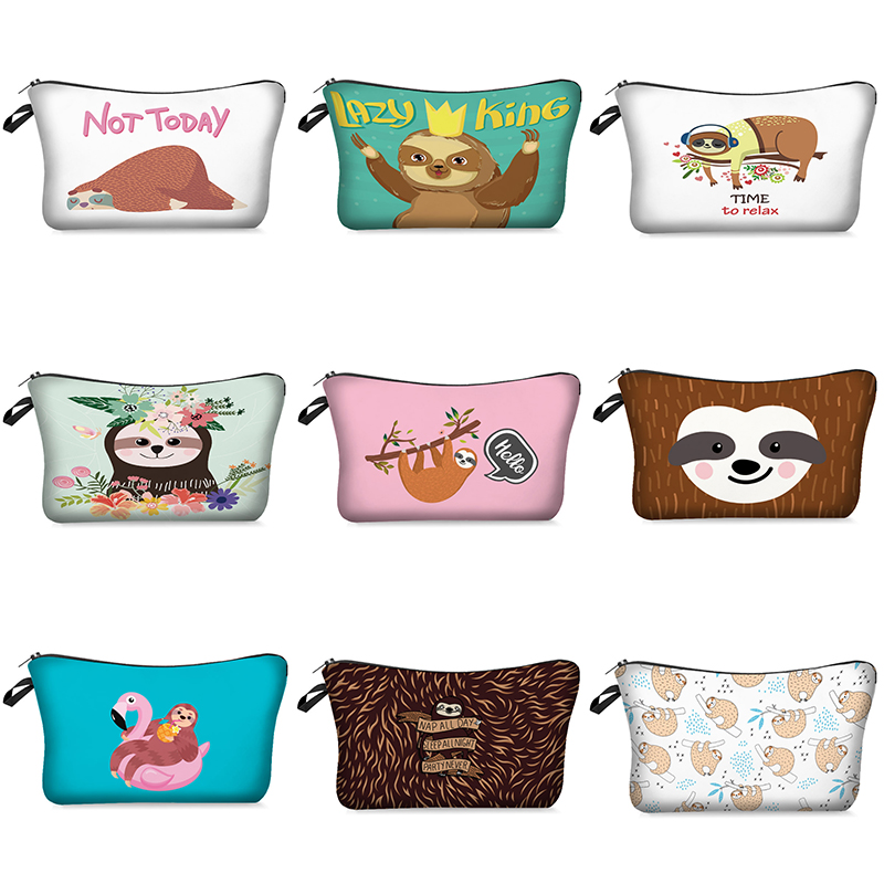 Makeup Bag Women Cosmetic Bag With Multicolor Pattern Cartoon Sloth 3D Printing Zipper Toiletry Bag Travel Makeup Organizer
