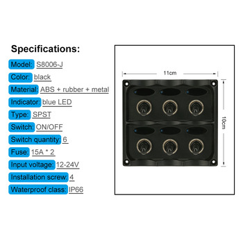 Hot S8006-J 12V-24V Waterproof 6-Gang Toggle Switch Panel with Fuse LED Indicators DIY Switch for Car Boat Marine