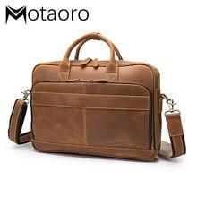 Crazy Horse Leather Men's Laptop Handbag Genuine Leather Handbags Business Briefcase 15 Inch Computer Bag Pochette Bolso Hombre