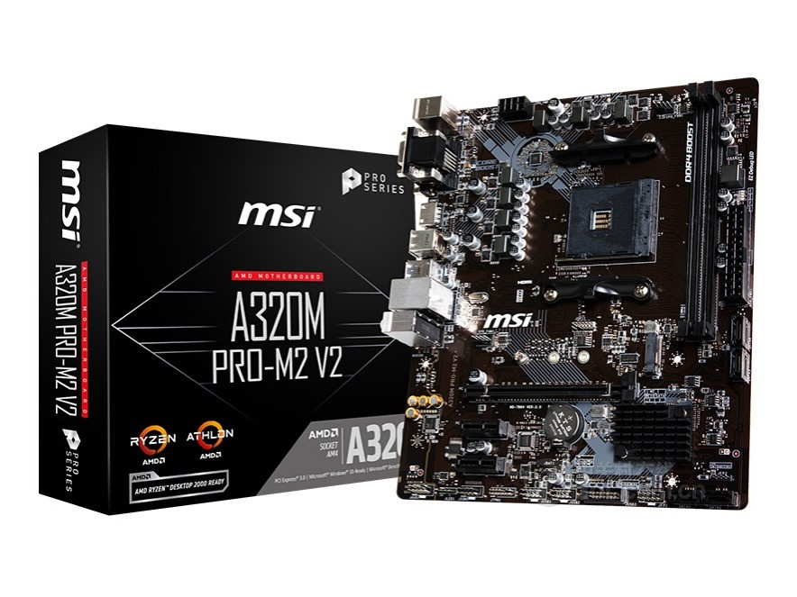 New MSI Motherboard A320M PRO-M2 V2 Socket Am4 Ddr4 Memory Rams M.2 SATAIII Ssd HDMI+VGA+DVI PCI-E 3.0 X16 Desktop Board
