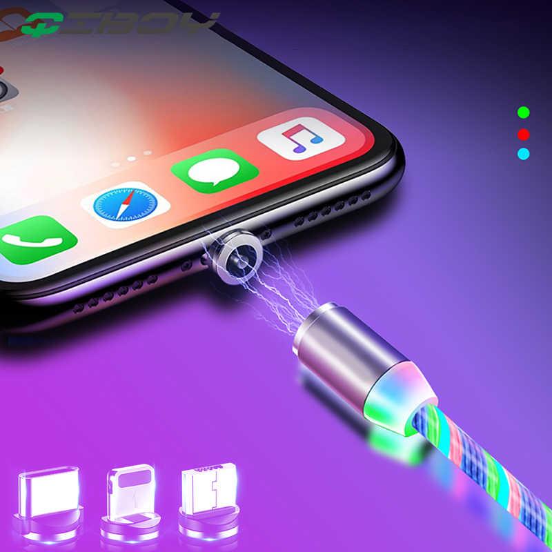 ĐÈN LED Lưu Lượng Ánh Sáng Dạ Quang Từ Cáp Sạc USB iPhone XR X 7 8 Micro Loại C Sạc Nhanh Nam Châm sạc USB-C Loại-C